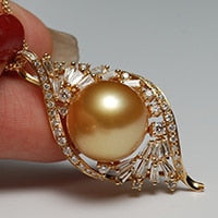 Sinya 13mm southsea golden pearl pendant inlay Real high luster diamonds 18K Au750 fine jewelry necklace for women ladies Hot