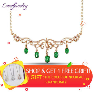 Loverjewelry Luxury Necklace Design Solid 18Kt Yellow Gold Natural Green Emerald Pendant Necklace Diamond Jewelry For Women Gift