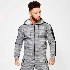 Spring Men Sportswear Tracksuit Zip Up Hooded Jacket Sweatshirt+pants Male Running Jogger Exercise Workout Outfit Set Sport Suit