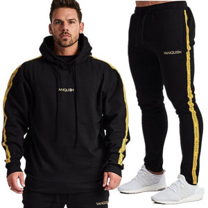 Spring Men Sportswear Tracksuit Hooded Sweater Sweatshirt+pant Male Running Jogger Casual Workout Outfit Exercise Set Sport Suit