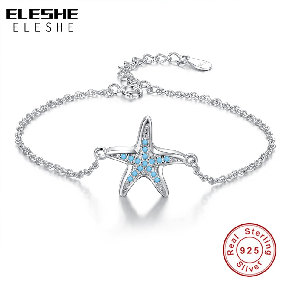 ELESHE 2019 Summer Original Real 925 Sterling Silver Blue CZ Crystal Starfish Charm Bracelet for Women Ladies Wedding Jewelry