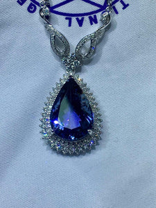 Fine Jewelry Real 18K White Gold AU750 Natural Blue Tanzanite Gemstones 6.9ct Pendants for Women Fine Necklace