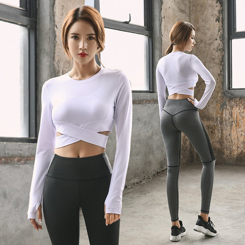 Women Outfits Crop Tank Top Quickly Dry Long Pants Leggings Running Jogger Fitness Gym Exercise Yoga Set Tracksuit Sportswear