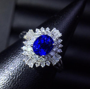 Fine Jewelry Real 18K White Gold 100% Natural 1.36ct Blue Sapphire Gemstone 18k Gold Diamonds Stone Women Ring for Female Rings