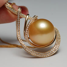 Load image into Gallery viewer, Sinya 15mm southsea golden pearl pendant inlay Real high luster diamonds 18K Au750 Gold fine jewelry necklace for women ladies