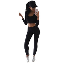 Load image into Gallery viewer, Womens Gym Clothing Sexy Leggings Sport Fitness Yoga Sets Gray Black Workout Running Exercise Sportwear Active Jogging Outfit