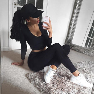 Womens Gym Clothing Sexy Leggings Sport Fitness Yoga Sets Gray Black Workout Running Exercise Sportwear Active Jogging Outfit