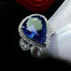 Fine Jewelry Real 18K White Gold AU750 100% Natural Tanzanite Gemstone 6.5ct Female Rings for Women Fine Ring