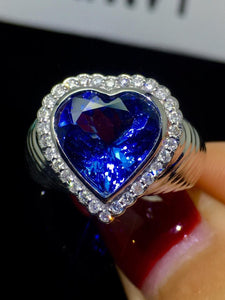Fine Jewelry Real 18K White Gold AU750 100% Natural Tanzanite Gemstone 4.4ct Tanzania Origin Female Rings for Women Fine Ring