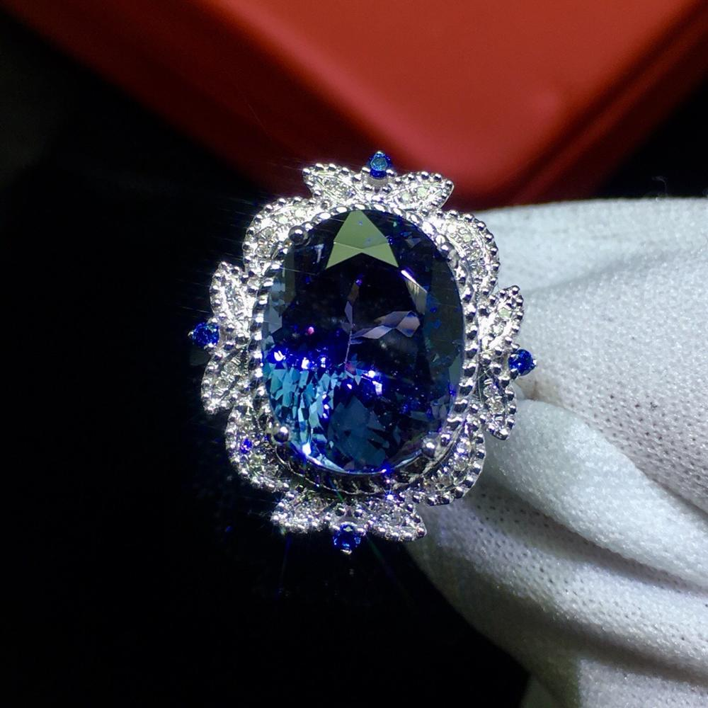 Fine Jewelry Real 18K White Gold AU750 100% Natural Tanzanite Gemstone 5.9ct Female Rings for Women Fine Ring