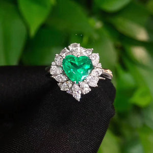 Fine Jewelry Real 18K Yellow Gold 1.41ct Heart Colombia Emerald Ring Natural Diamond for Men and Women Party