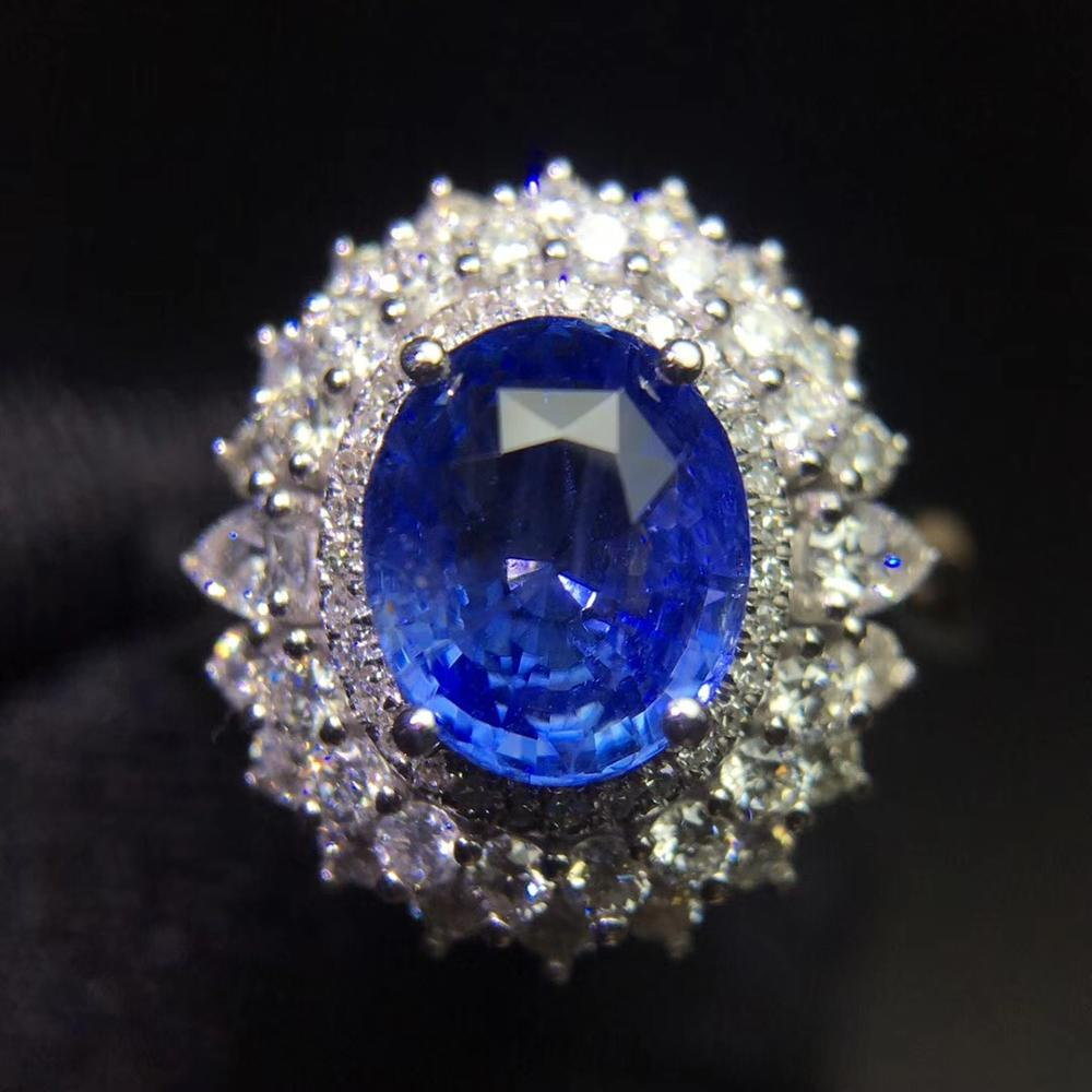 Fine Jewelry Sapphire Ring Natural 2.04ct Cornflowerl Blue Sapphire Gemstone Pure 18 K Gold Jewelry For Women Diamonds Rings