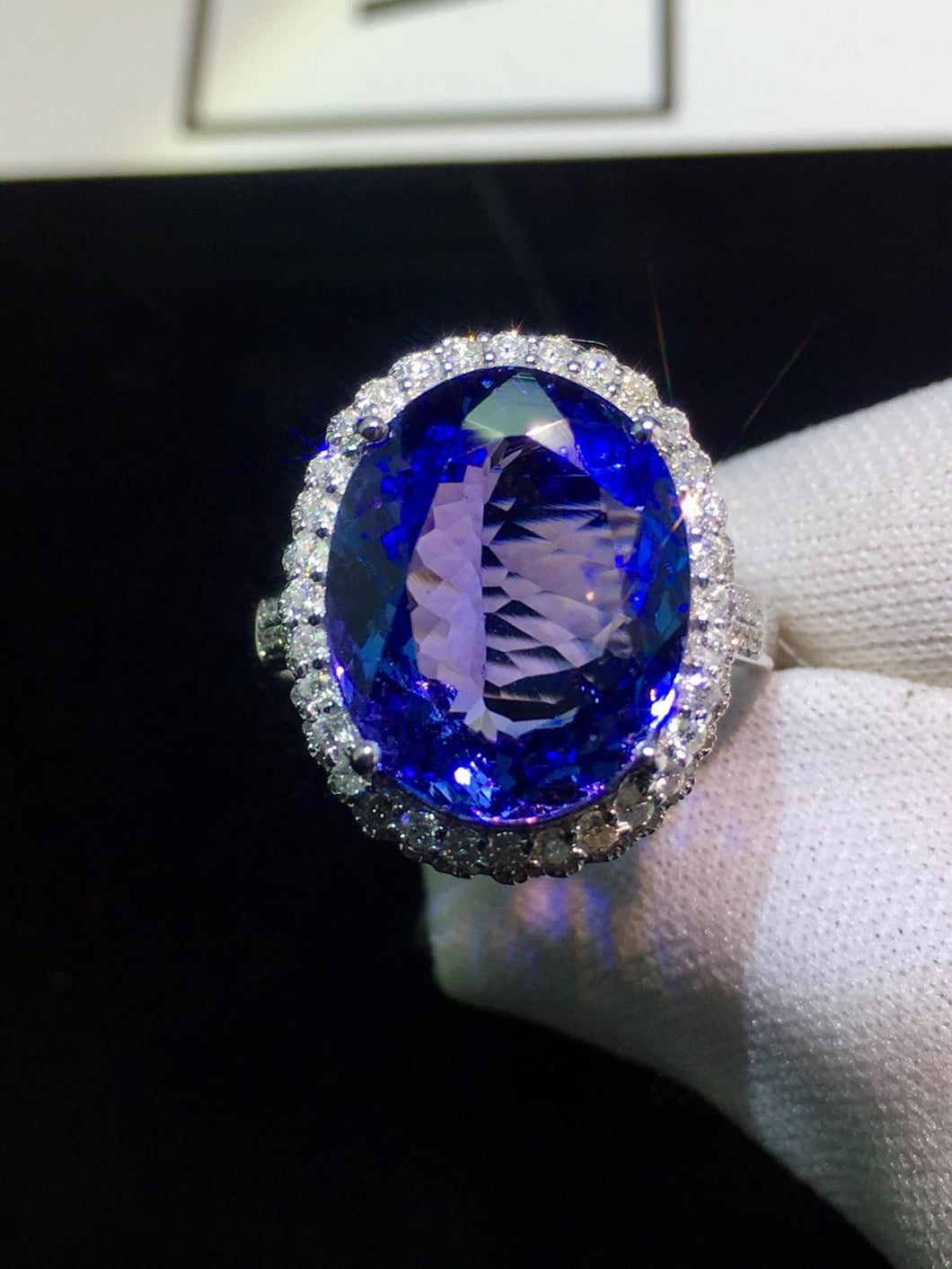 Fine Jewelry Real 18K White Gold AU750 100% Natural Tanzanite Gemstone 7.5ct Tanzania Origin Female Rings for Women Fine Ring