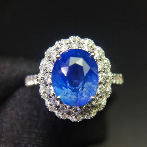 Fine Jewelry Sapphire Ring Natural 3.75ct Cornflowerl Blue Sapphire Gemstone Pure 18 K Gold Jewelry For Women Diamonds Rings