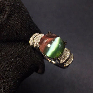 Fine Jewelry Anillos oro Real Pt900 Jewelry 100% Natural Brazil Tourmaline 5.18ct Gemstone Female Rings for Women Fine Ring