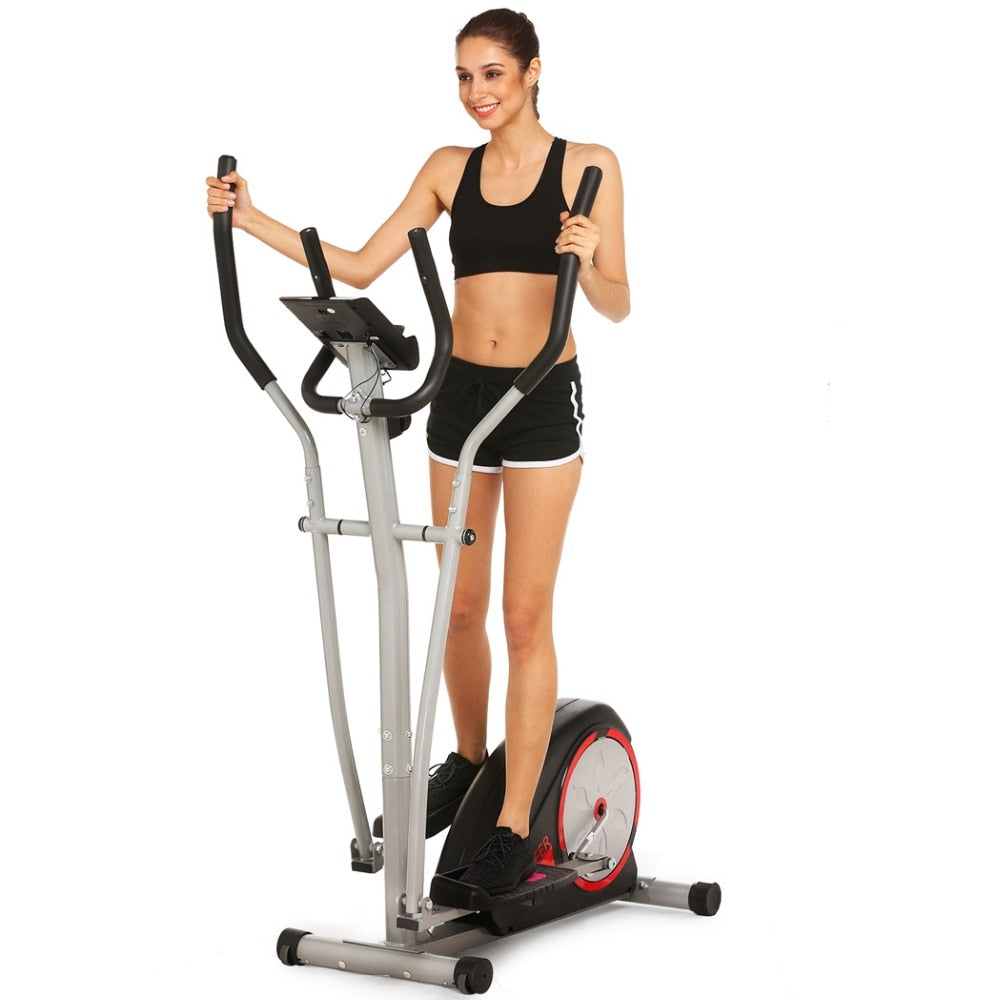 Magnetic Control Mute Elliptical Trainer with LCD Monitor Home Fitness Workout Machine
