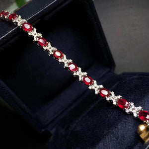 Fine Jewelry Real 18K White Gold AU750 G18K Natural Red Ruby Gemstones 4.83ct Love Jewellery Bracelets for women Fine Bracelet