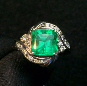 Fine Jewelry Pure Real 18K Gold 100% Natural Vivid Green Emerald Gemstone 3.02ct 18k Gold Diamonds  Female Ring for Women Rings