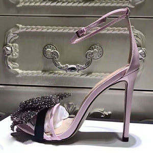 2019 Rhinestone Dimond Bowknot Gladiator Sandals Woman Open Toe High Heel Shoes Women Fashion Wedding Shoes