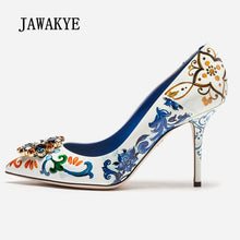 Load image into Gallery viewer, 2019 Elegant High Heel Shoes Woman Pointed Toe Blue White Porcelain Print Rhinestone Dimond Flower Decor Pumps Lady Wedding Shoe