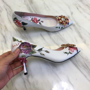 2019 Elegant High Heel Shoes Woman Pointed Toe Blue White Porcelain Print Rhinestone Dimond Flower Decor Pumps Lady Wedding Shoe