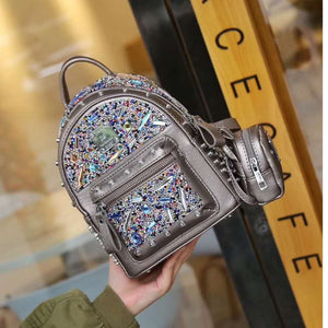 Backpack Women Rivet Dimonds Mini Backpacks for Women Shoulder Bag Fashion Brand Luxury School Bags for Teenage Girls