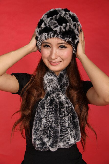 ladies fur hat scarf set women's dimond plaid caps.natural rex rabbit fur knitted 6 colors winter autumn H306