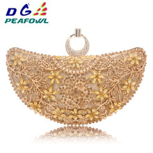 Load image into Gallery viewer, DG Peafowl Rings Moon Hollow Out Floral Lady Clutch Bag Red Dimond Crystal Toiletry Handbag Day Phone Interior Package Purse
