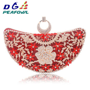 DG Peafowl Rings Moon Hollow Out Floral Lady Clutch Bag Red Dimond Crystal Toiletry Handbag Day Phone Interior Package Purse