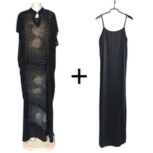 Load image into Gallery viewer, south africa black dresses for women long dimonds dress summer ladies clothes dashiki rhinestone saty women african clothing