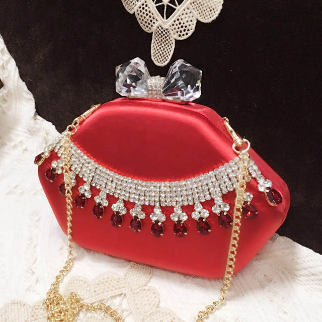 2019 New Design Evening Party Bag Crystal Dimonds Handbags Wedding Clutch Women Fashion Evening Bags Ladies Night Purse 2 Color