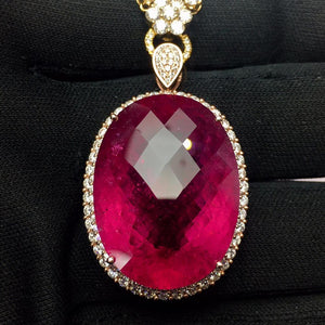 Tourmaline Pendant Fine Jewelry Real 18 K Gold 100% Natural Rubi Tourmaline 56.8ct Gemstones Diamond Pendant Necklace