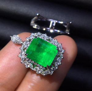 Fine Jewelry Colombia Real 18K White Gold AU750 Natural Emerald Gemstones 4.38ct Luxury Female Pendants for Women Fine Necklace