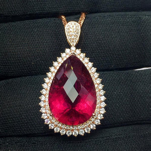 Tourmaline Pendant Fine Jewelry Real 18 K Gold 100% Natural Rubi Tourmaline 13.95ct Gemstones Diamond Pendant Necklace