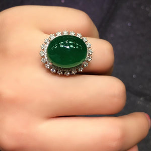 Fine Jewelry G18k Rings Real Diamonds 18K Gold Natural Emerald 18.2ct Gemstones Female Wedding Rings for women Fine Ring