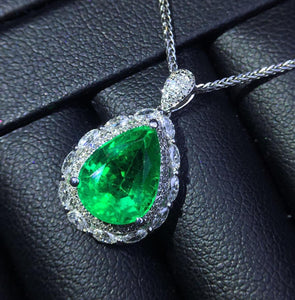 AIGS Fine Jewelry  Real 18 K White Gold Natural 2.61ct Vivid Green Emerald Gemstones Female Pendants for Women Fine Necklace