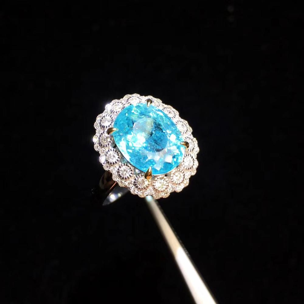 Fine Jewelry Pure 18K White Gold Jewelry Natural Green Blue Paraiba Tourmaline Gemstones 3.64ct Female Rings for women Fine Ring