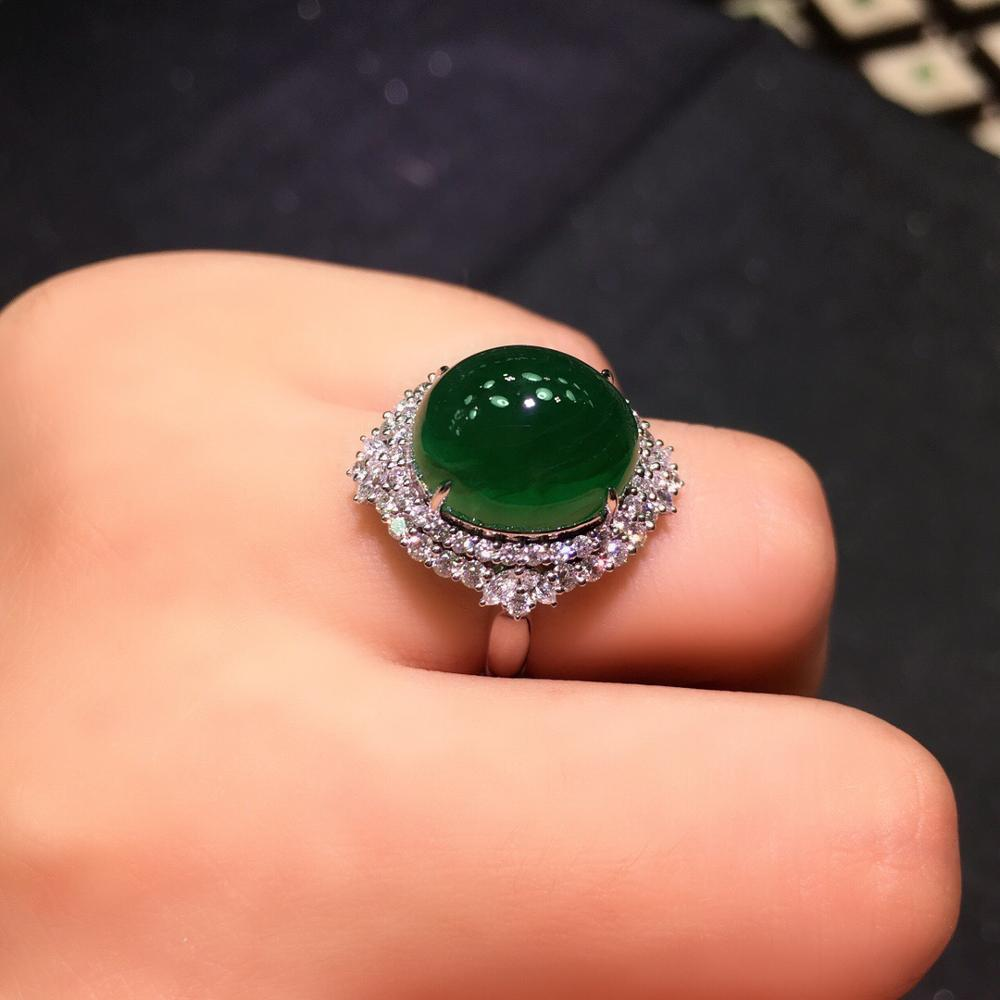 Fine Jewelry G18k Rings Real Diamonds 18K Gold Natural Emerald 9.75ct Gemstones Female Wedding Rings for women Fine Ring