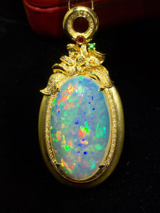 Fine Jewelry Real Pure18 K Gold AU750 G18K Natural 100% Opal Pendant 18.2ct Diamonds Pendant Gemstone Necklaces for Women
