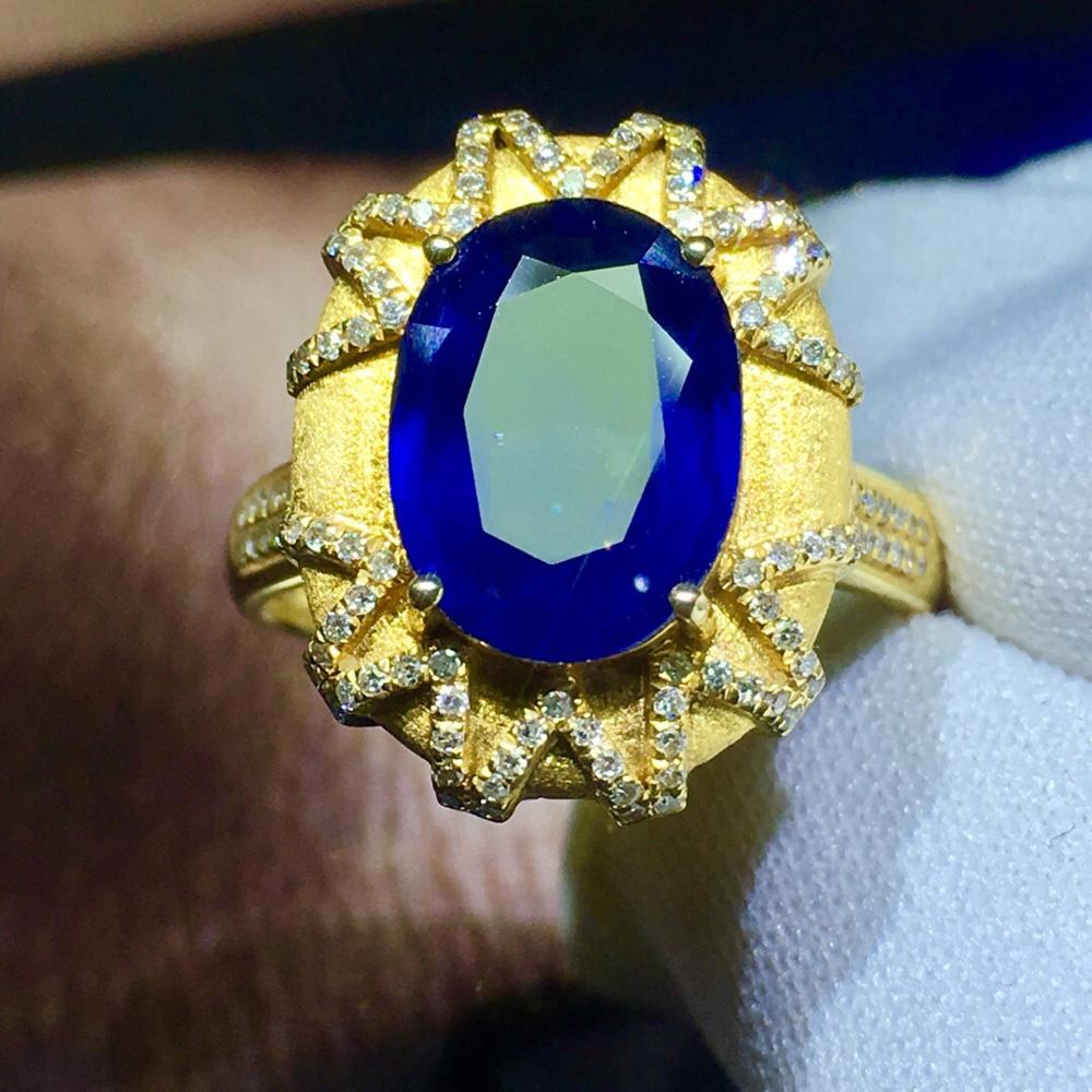 819 Fine Jewelry 18K Yellow Gold 100% Natural 3.1ct Blue Sapphire Gemstone 18k Gold Diamonds Stone Unisex Ring for Women  Rings