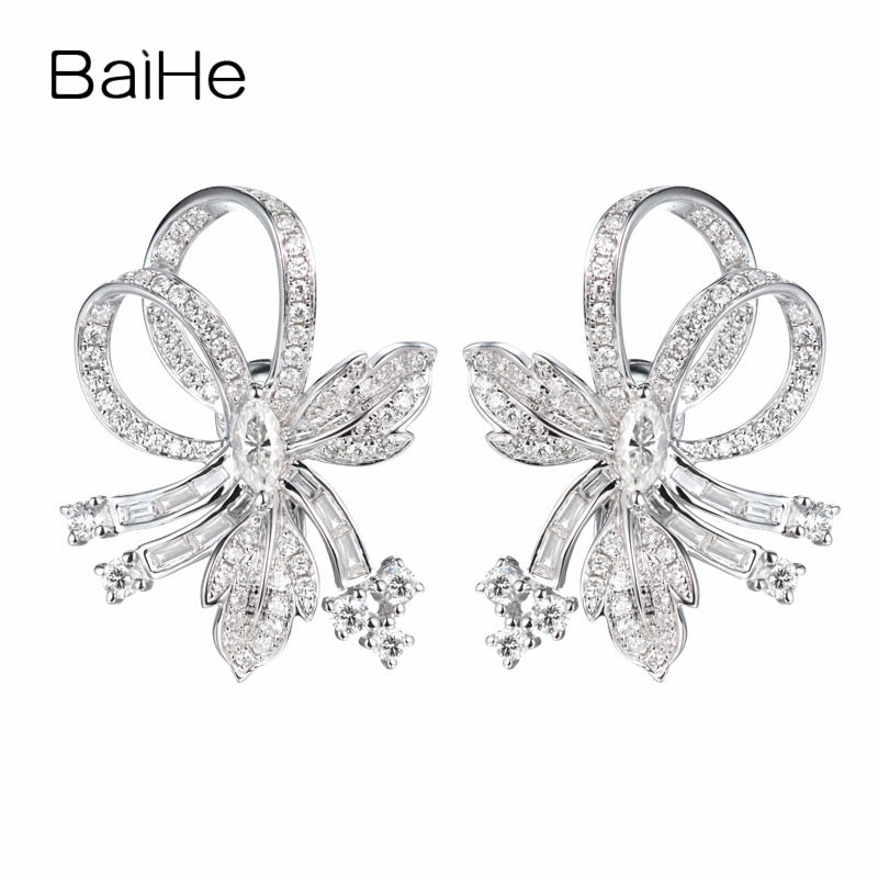 BAIHE Solid 14K White Gold 0.28ct+1.2ct Total Marquise & Round cut Genuine Natural Diamonds Wedding Trendy Jewelry Stud Earrings