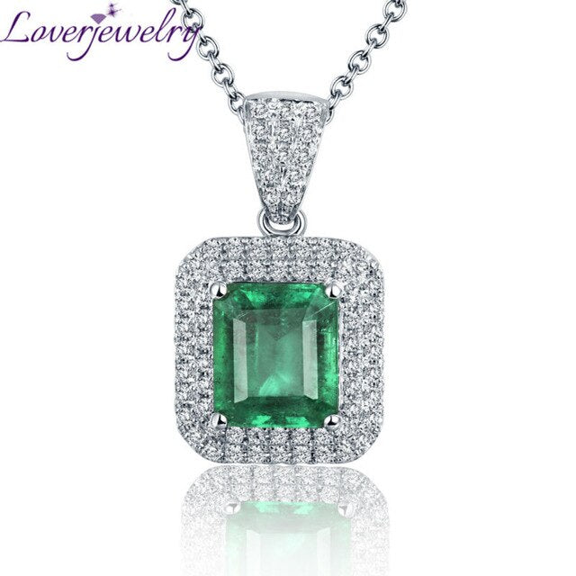 2019 Women Pendants Solid 18Kt White Gold Emerald Necklace Pendant Natural Diamonds Wedding Engagement Jewelry For Lady Gift