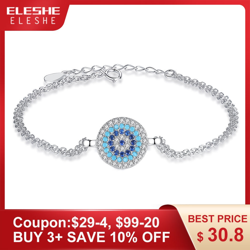 ELESHE Genuine 100% Real 925 Sterling Silver Bracelet with Blue Crystal God's Eye Charm Bracelet for Women Wedding Jewelry Gift