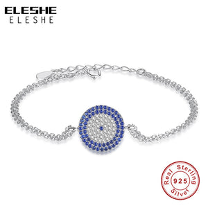 ELESHE Authentic Real 925 Sterling Silver Turkish Blue Eye Round Charm Bracelet Women Fashion Silver Bracelet Wedding Jewelry