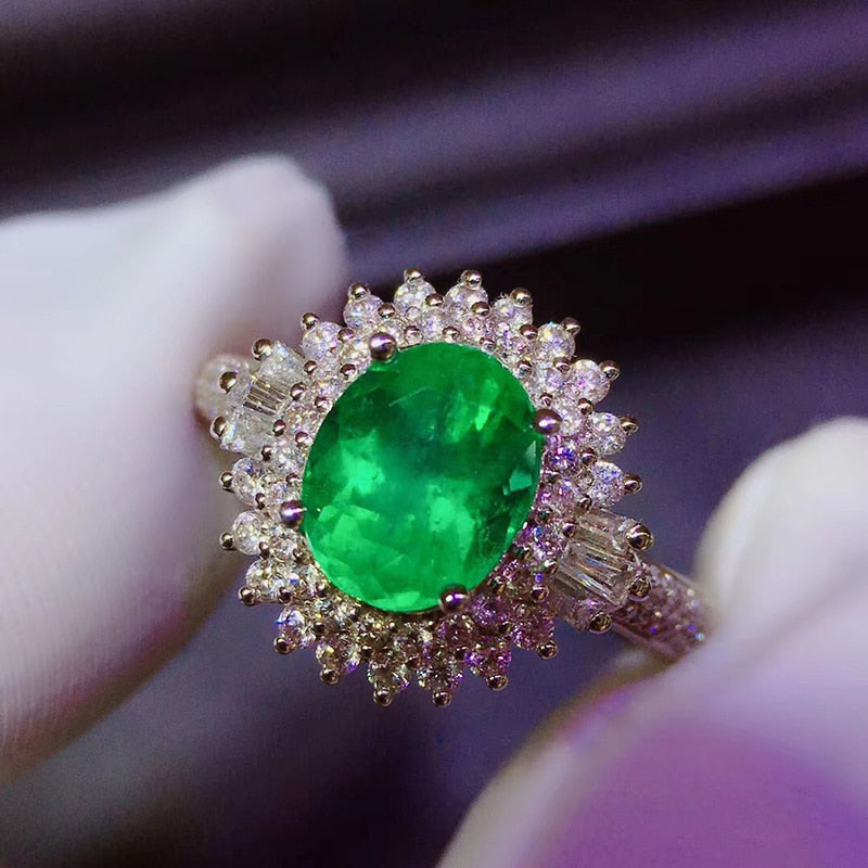 Fine Jewelry Real Pure 18K White Gold 100% Natural Emerald Gemstone 1.5ct Diamond Female's Wedding Rings for Women's Fine Rings