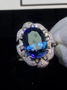 Fine Jewelry Real 18K White Gold AU750 100% Natural Tanzanite Gemstone 6.8ct Tanzania Origin Female Rings for Women Fine Ring