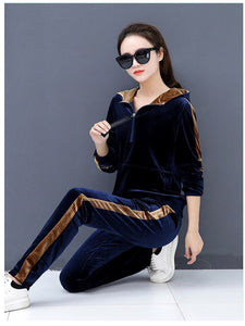 Women Sportswear Tracksuit Velvet Long Sleeve Hoodie Sweatshirt+pant Running Jogger Casual Exercise Workout Outfit Sport Set
