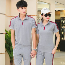 Load image into Gallery viewer, Summer Men Sportswear Women Tracksuit Short Sleeve T-shirt Sweatshirt+pant Lover Running Jogger Exercise Casual Outfit Sport Set