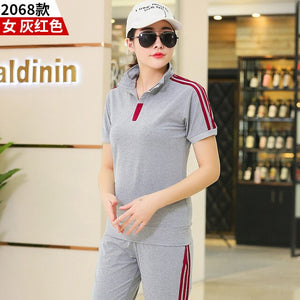 Summer Men Sportswear Women Tracksuit Short Sleeve T-shirt Sweatshirt+pant Lover Running Jogger Exercise Casual Outfit Sport Set