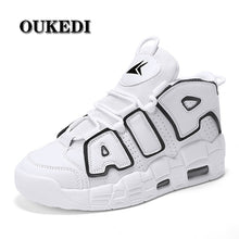 Load image into Gallery viewer, OUKEDI Air Cushion Men Running Shoes PU Leather Sneakers Men Breathable Trainers City Runner Shoes White Workout Walking Shoes